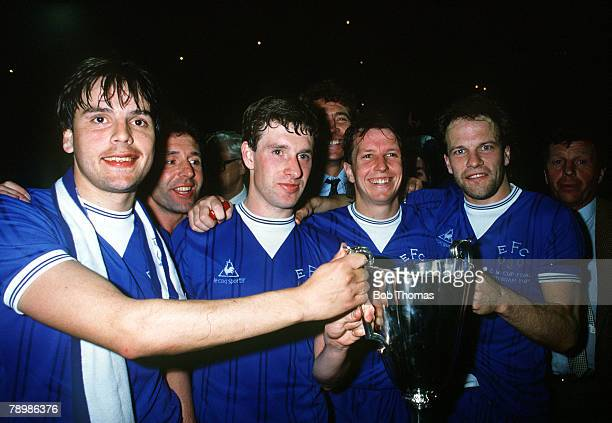 Sport Football European Cup Winners Cup Final Rotterdam Holland 15th May 1985 Everton 3 v Rapid Vienna 1 Everton players LR Graeme Sharp Kevin Sheedy...