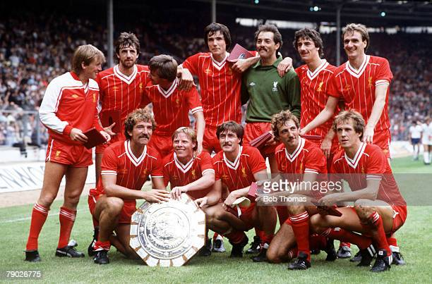 Sport Football FA Charity Shield Wembley London England 21st August 1982 Liverpool 1 v Tottenham Hotspur 0 The Liverpool team celebrate with the...