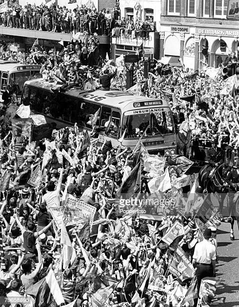 Sport Football FA Cup Final England 11th May 1980 West Ham 1 v Arsenal 0 The West Ham team parades the FA Cup from a coach near Upton Park the...