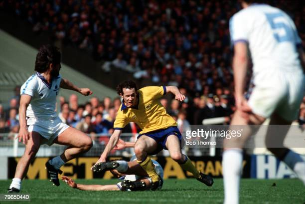 Sport Football FA Cup Final Wembley 10th May 1980 West Ham United 1 v Arsenal 0 Arsenal's Liam Brady is tackled by West Ham's Trevor Brooking as...