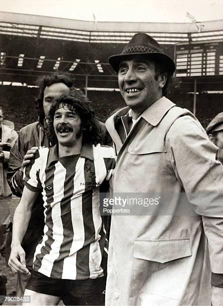 Sport Football FA Cup Final Wembley London England 5th May 1973 Sunderland 1 v Leeds United 0 Sunderland captain Bobby Kerr celebrates with his...