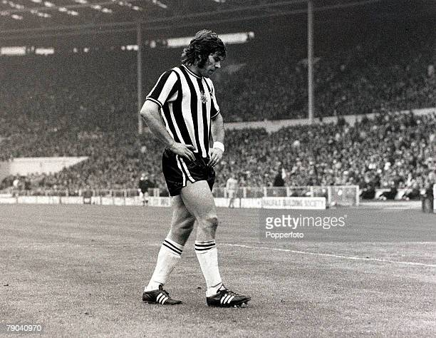 Sport Football FA Cup Final Wembley London England 5th May 1974 Liverpool 3 v Newcastle United 0 Newcastle United striker Malcolm MacDonald is...
