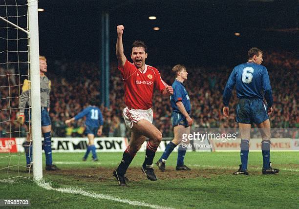 Sport Football FA Cup Semi Final Replay Maine Road 11th April 1990 Manchester United 2 v Oldham Athletic 1 aet United's Brian McClair celebrates...