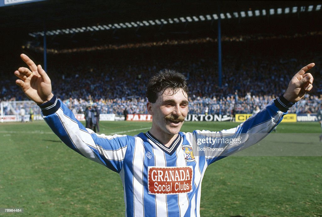 Sport Football FA Cup SemiFinal at Hillsborough Coventry City 3 v Leeds United 2 aet PIC 12th April 1987 Coventry City's Micky Gynn celebrates after...