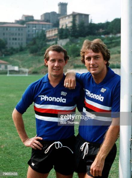Sport Football Feature Genoa Italy 5th August 1982 Sampdoria's new signings Liam Brady and Trevor Francis pose in their new club shirts