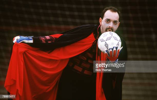 circa 1990 Liverpool's Bruce Grobbelaar in typical extrovert behaviour as he dresses up as Dracula