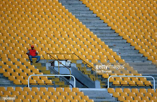 Sport Football FIFA Club World Championships Rio De Janeiro Brazil 11th January Manchester United 2 v South Melbourne 0 A lone workman sits amongst...