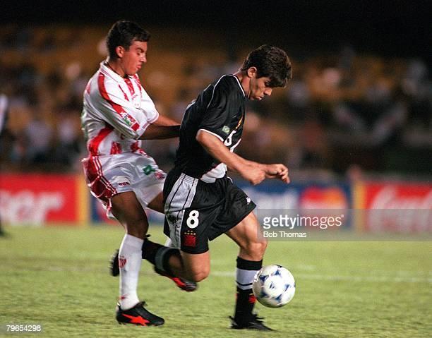Sport Football FIFA Club World Championships Rio de Janeiro Brazil 11th January 2000 Vasco Da Gama 2 v Necaxa 1 Vasco Da Gama's Juninho is challenged...
