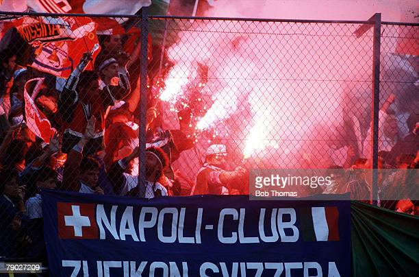 Sport Football FIFA Exhibition Match Zurich Switzerland 10th June 1987 Italy 3 v Argentina 1 Colourful Italian fans from Serie A Champions Napoli let...