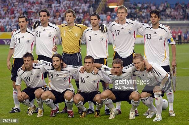 Sport Football FIFA World Cup Dortmund 14th June 2006 Germany 1 v Poland 0 Germany team group Back row leftright Miroslav Klose Christoph Metzelder...