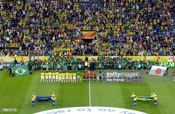Sport Football FIFA World Cup Dortmund 22nd June 2006 Japan 1 v Brazil 4 A colourful spectacle in the stadium with Brazil and Japan lining up for the...