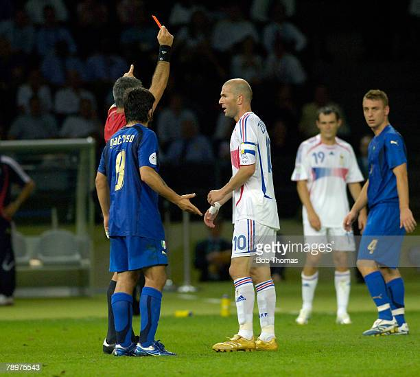 Sport Football FIFA World Cup Final Berlin 9th July 2006 Italy 1 v France 1 Italy won 53 on Penalties France captain Zinedine Zidane is shown the red...