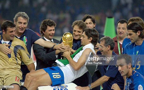 Sport Football FIFA World Cup Final Berlin 9th July 2006 Italy 1 v France 1 Italy won 53 on Penalties Italy celebrations with Filippo Inzaghi holding...