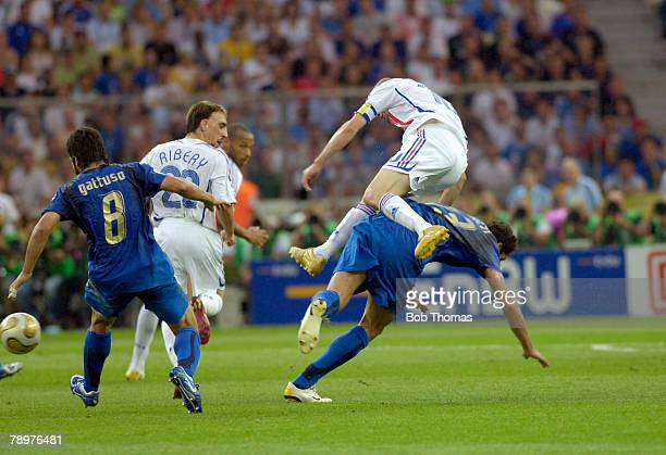 Sport Football FIFA World Cup Final Berlin 9th July 2006 Italy 1 v France 1 Italy won 53 on Penalties France captain Zinedine Zidane goes flying over...