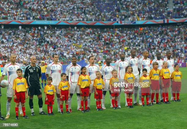 Sport Football FIFA World Cup Munich 5th July 2006 Semi Final Portugal 0 v France 1 The France team line up with the mascots France leftright...