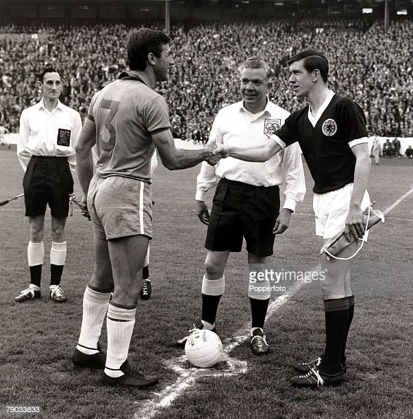 Sport Football Friendly International Hampden Park Glasgow 25th June 1966 Scotland 1 v Brazil 1 Brazil captain Bellini is greeted by Scotland captain...