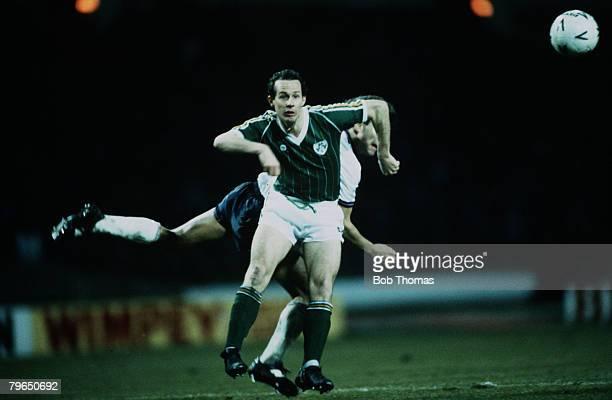 Sport Football Friendly International Wembley 26th March 1985 England 2 v Republic of Ireland 1 Ireland's Liam Brady is challenged by England's Bryan...