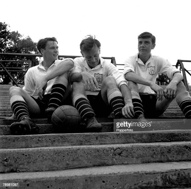 Sport Football Fulham Football Club trio lr Bobby Robson Bedford Jezzard and Johnny Haynes