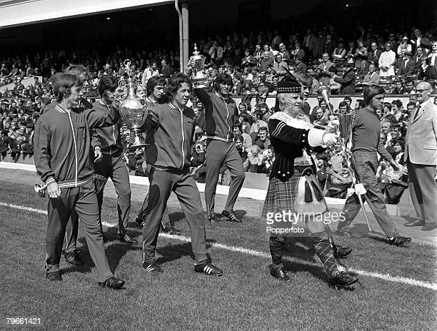 Sport Football Highbury London 14th August 1971 League Division One Arsenal v Chelsea Arsenal Junior players parade both the First Division trophy...