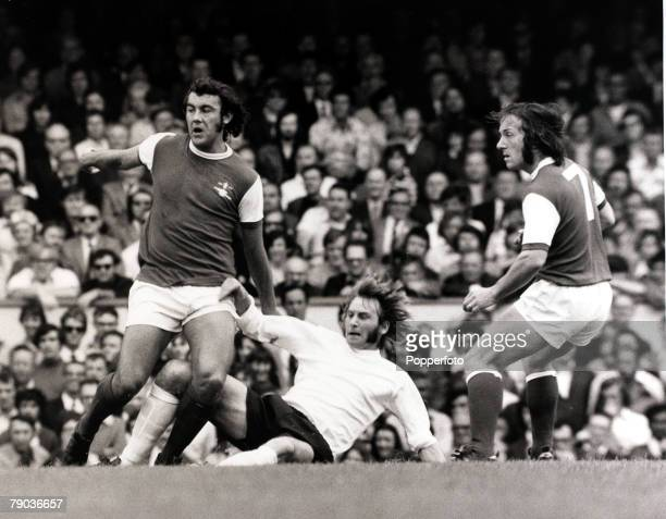 Sport Football Highbury London England 19th August 1972 League Division One Arsenal 2 v Stoke City 0 Arsenal pair Ray Kennedy and George Armstrong...