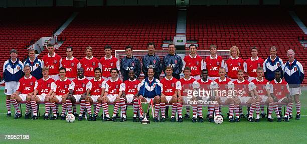 Sport Football Highbury London England Arsenal team group Back Row LR Pat Rice Gary Lewin Andy Linighan Steve Morrow Paul Merson Martin Keown Lee...