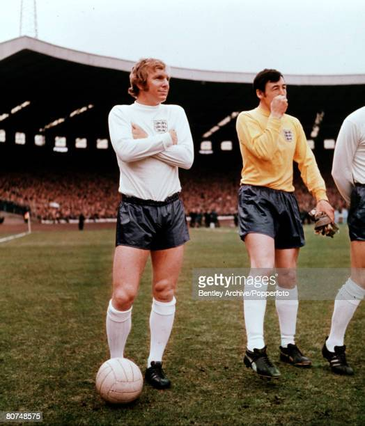 Sport Football Home Championship Hampden Park Glasgow 25th April 1970 Scotland 0 v England 0 England captain Bobby Moore is pictured with goalkeeper...