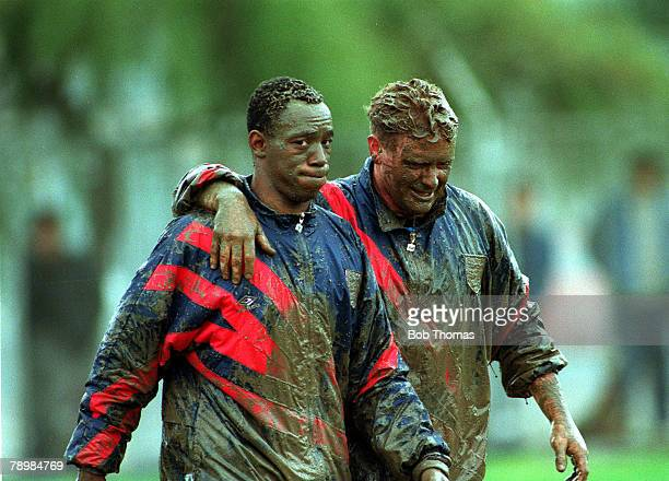 29th March 1993 England's Ian Wright and Paul Gascoigne right after training in the mud in Izmir Turkey