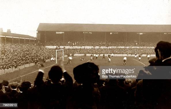 Sport Football International British Championship Goodison Park Liverpool England 1st April 1911 England 1 v Scotland 1 JStewart has scored the...