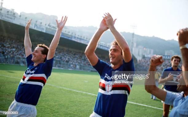 Sport Football Italian League Serie A 12th September 1982 Sampdoria 1 v Juventus 0 Sampdoria's new signings Liam Brady and Trevor Francis celebrate...