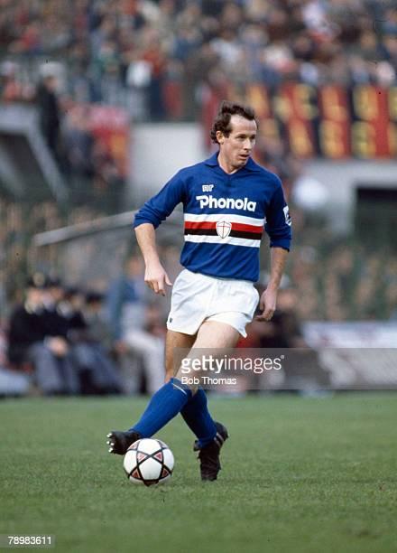 Sport Football Italian League Serie A pic October 1983 AC Milan 2 v Sampdoria 1 Liam Brady Sampdoria who also won 72 Republic of Ireland...