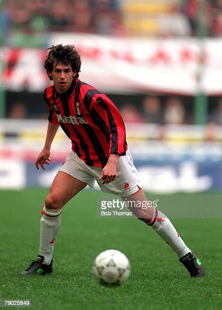 Sport Football Italian League Serie A San Siro 13th March 1994 AC Milan 1 v Sampdoria 0 AC Milan's Demetrio Albertini