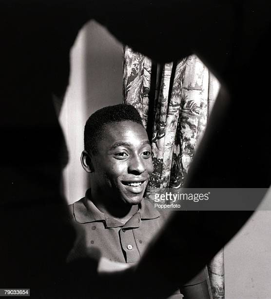Sport Football January 1962 Brazil star Pele in an unusual shot photographed looking fom under a silhouetted arm Pele was perhaps the greatest player...