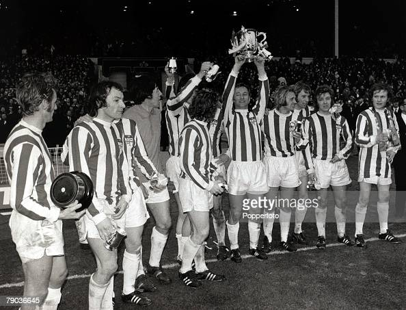 Sport Football League Cup Final Wembley London England 4th March 1972 Stoke City 2 v Chelsea 1 Stoke City captain Peter Dobing celebrates as he holds...