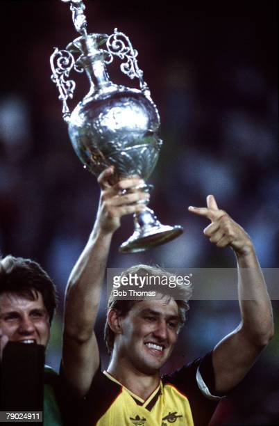 Sport Football League Division One Anfield England 26th May 1989 Liverpool 0 v Arsenal 2 Arsenal captain Tony Adams celebrates with the Championship...