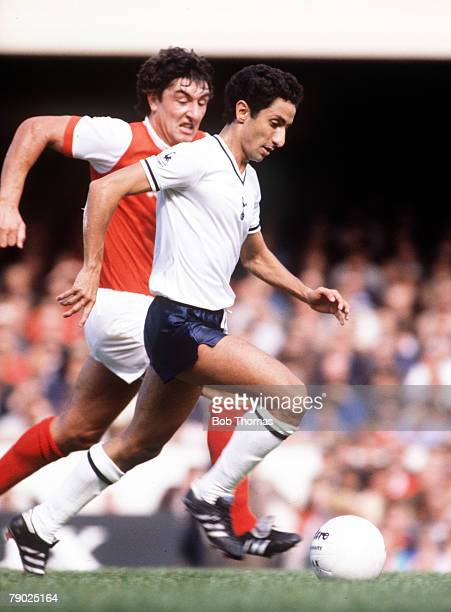 Sport Football League Division One England 1980's Arsenal v Tottenham Hotspur Tottenham's Osvaldo Ardiles is chased by Arsenal's Brian Talbot