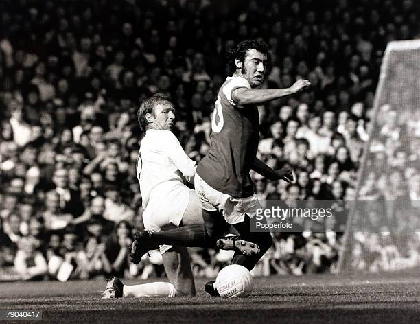 Sport Football League Division One Highbury London England 11th September 1971 Arsenal v Leeds United Arsenal's Ray Kennedy is challenged from behind...