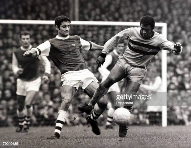 Sport Football League Division One Highbury London England 26th October 1968 Arsenal v West Ham United West Ham United's John Charles is challenged...