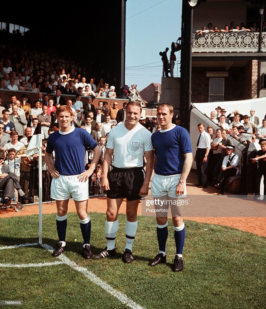 Sport, Football, League Division One, London, England, August 1966, Fulham v Everton, Three members of England's victorious 1966 World Cup team, L-R: <a gi-track='captionPersonalityLinkClicked' href=/galleries/search?phrase=Alan+Ball+-+World+Cup+Winner&family=editorial&specificpeople=213401 ng-click='$event.stopPropagation()'>Alan Ball</a> (Everton), George Cohen (Fulham) and Ray Wilson (Everton) are pictured at Craven Cottage prior to the start of the 1966-67 season.