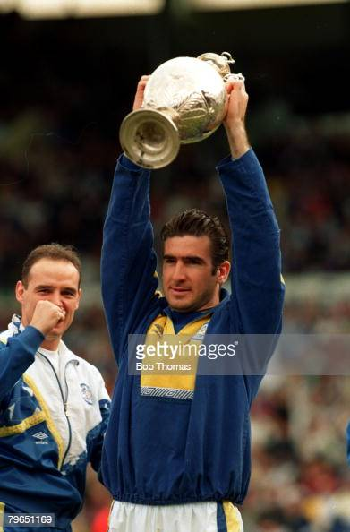 Sport Football League Division One May 1992 Leeds United's Eric Cantona holds the Championship trophy aloft