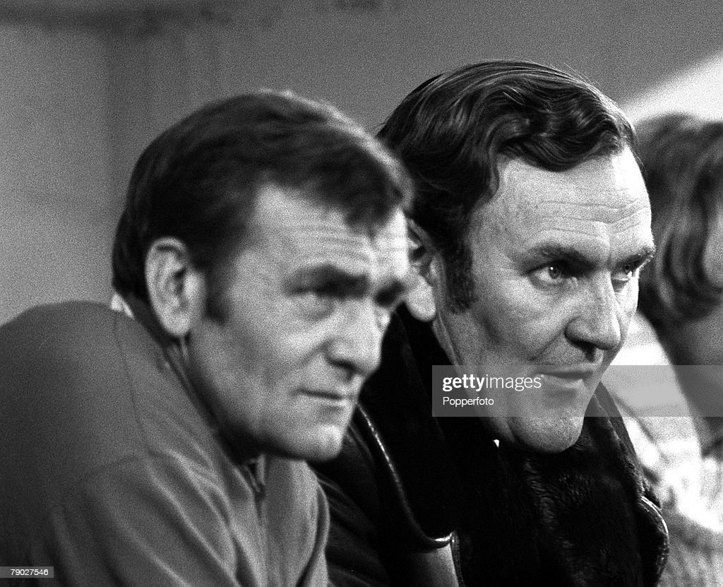 Sport, Football, League Division One, Selhurst Park, London, England, 18th November 1972, Crystal Palace 2 v Leeds United 2, Leeds United Manager Don Revie (right) sits on the bench with Trainer Les Cocker
