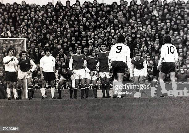 Sport Football League Division One White Hart Lane London England 9th December 1972 Tottenham Hotspur v Arsenal Tottenham Hotspur players Martin...