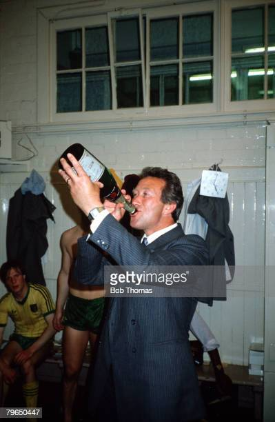 Sport Football League Division Two 15th May 1982 Sheffield Wednesday 2 v Norwich City 1 Norwich City Manager Ken Brown celebrates with champagne...