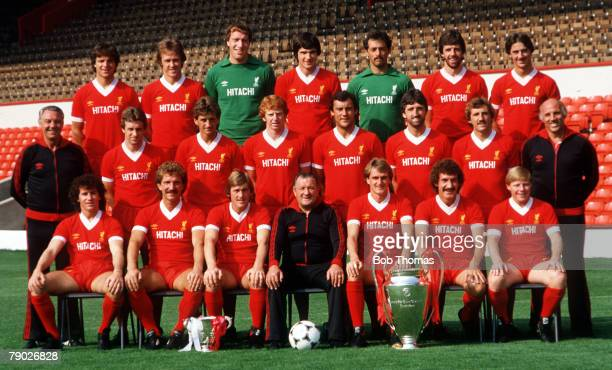 Sport Football Liverpool FC TeamGroup 198182 Season The Liverpool team pose together for a group photograph with the League Cup and the European Cup...