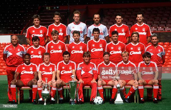 Sport Football Liverpool FC TeamGroup 198889 Season The Liverpool team pose together for a group photograph with the two League Championship trophies...