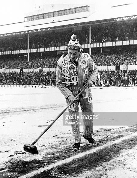 Sport Football London England 16th January 1963 FA Cup Third Round Tottenham Hotspur 0 v Burnley 3 A Spurs fan wearing a bobble hat and a number of...