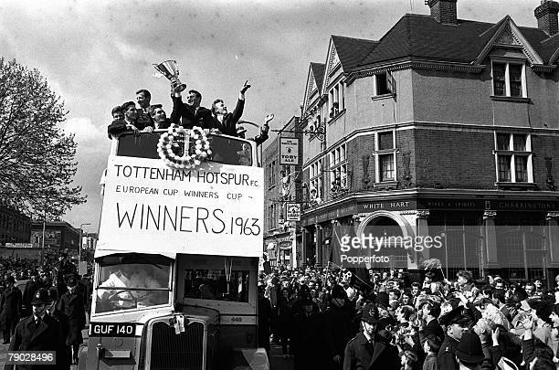 Sport Football London England 19th May 1963 Tottenham Hotspur players LR John White Bill Brown Cliff Jones Jimmy Greaves and Terry Dyson parade the...