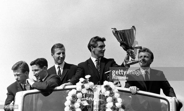 Sport Football London England 19th May 1963 Tottenham Hotspur players LR John White Bill Brown Cliff Jones Ron Henry and Terry Dyson parade the...