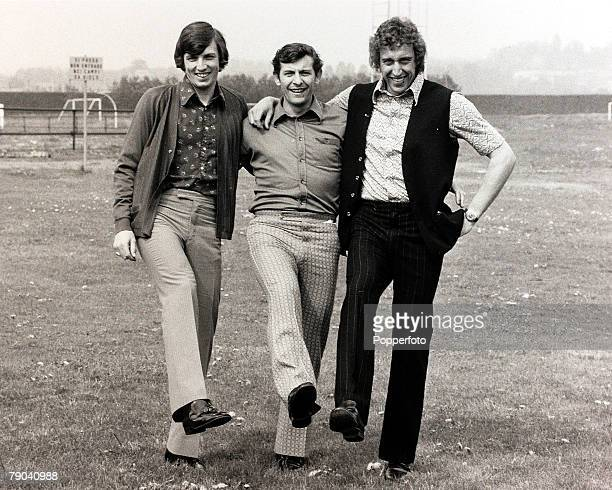 Sport Football London England 20th April 1972 Delighted Tottenham Hotspur players LR Martin Peters Alan Mullery and Martin Chivers are in good...