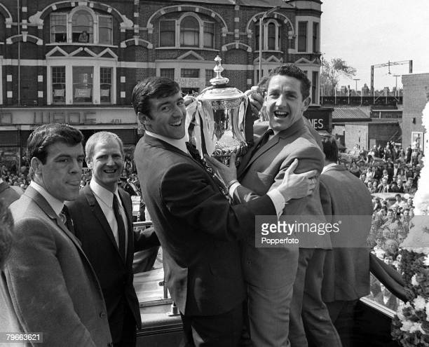 Sport Football London England 21st May 1967 Tottenham Hotspur players LR Mike England Frank Saul Terry Venables and captain Dave Mackay display the...
