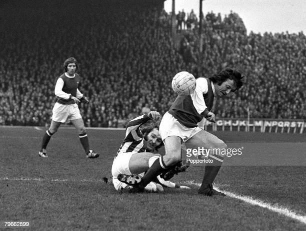 Sport Football London England 22nd January 1972 League Division One Arsenal v Huddersfield Town Arsenal's George Armstrong is tackled by...